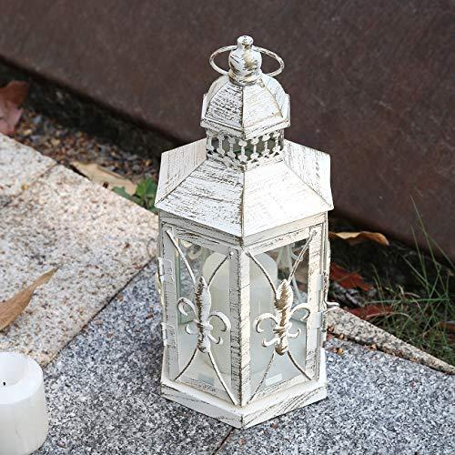 Lewondr Laterne Kerzenhalter, Klein Größe Antik Französisch Stil Metall Windlicht mit Henkel und Transparent Glas, Iris Blume Muster Deko Laternen...