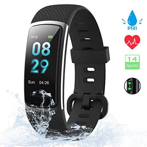[Neuestes Modell] Fitness Tracker, KUNGIX Schrittzähler Uhr IP68 Wasserdicht Smartwatch mit Pulsmesser Smart Watch für Damen Herren Kinder iOS...