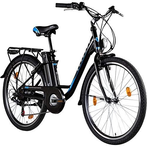 Zündapp E-Bike 26 Zoll Citybike Pedelec Z500 E Damenrad Elektrofahrrad Stadtrad (schwarz, 43 cm)