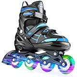 Hikole adjustable inline skates size 30-41 inline skates children with illuminated wheels roller skates for ...