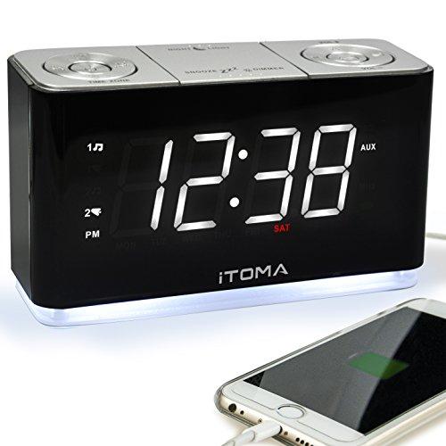Radiowecker, FM Digitaler Wecker, funkuhr mit Nachtlicht, Dual-Alarms, Dimmer Steuerung, 1,4-Zoll große weiße LED-Anzeige,...