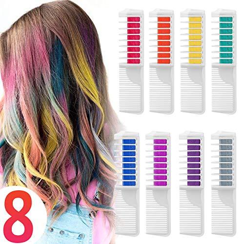 Haarfarbe Kamm Temporär Haarfarbe Kreide Kamm, 8 Stück Instant Einmalige Haarekreide Kamm mit Handschuhe und Schal für Kinder Haarfärbemittel,...