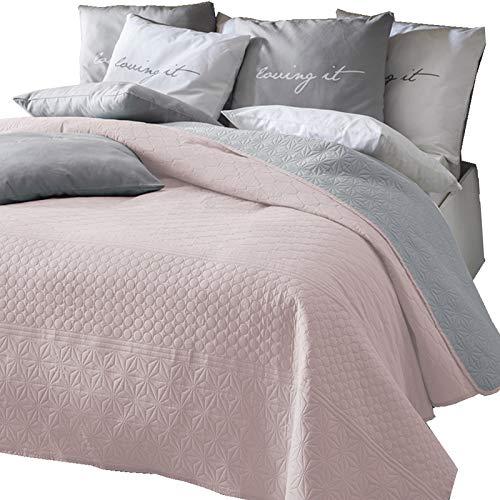 Zweiseitige Tagesdecke Bettüberwurf Steppdecke 3Tlg 220x240 Grau Rosa Ecru Lilac