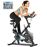 ANCHEER exercise bike 120 kg loadable, indoor cycling fitness bike with APP connection, infinite ...