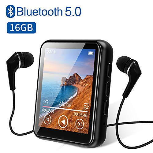 MP3 Player, 16GB Bluetooth 5.0 MP3 Player mit 1.8' Touchscreen, HiFi Verlustfreier Ton Musik Player mit Lautsprecher, FM Radio, E-Book, Video Player,...
