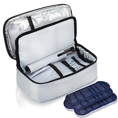 ALLCAMP Diabetikertasche Kühltasche Insulin Tasche für Diabetes Spritzen,Insulininjektion und Medikamente + 4 Kühlakkus