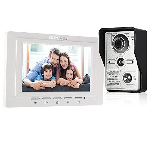 OWSOO 7 Zoll Video Türsprechanlage mit Infrarot und Nachtsicht, Zwei Wege Audio Visuelle Gegensprechanlage, Außenkamera regensicherer mit Funktionen...