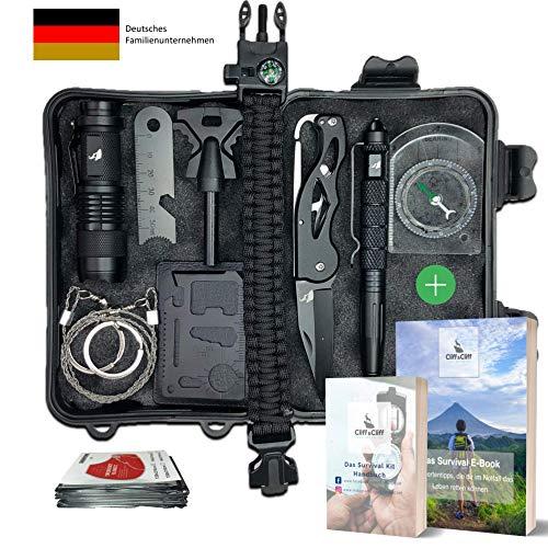 Survival Kit Vergleichssieger 2020* mit 2 eBooks - über 7.000 zufriedene Kunden - Dein perfektes Set fürs Campen oder Wandern mit Klappmesser,...