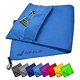 Fit-Flip Fitness Handtuch Set mit Reißverschluss Fach + Magnetclip + extra...