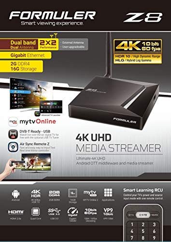 Tidligere Z8 5G 4K UHD IPTV Android 7.0 Nougat Player H.265 HEVC, 16GB Flash, 2GB DDR4, Stalker, MYTV 2, Quad Core, HDMI 2.0a, 2.4 / 5GHz WLAN, ...