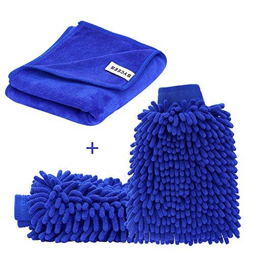SYCEES 2 Stücke Wasserdicht Mikrofaser Autowaschhandschuh und 1 Stück Microfasertuch Set, weicher Korallen Auto Chenille Waschhandschuh Handschuh...