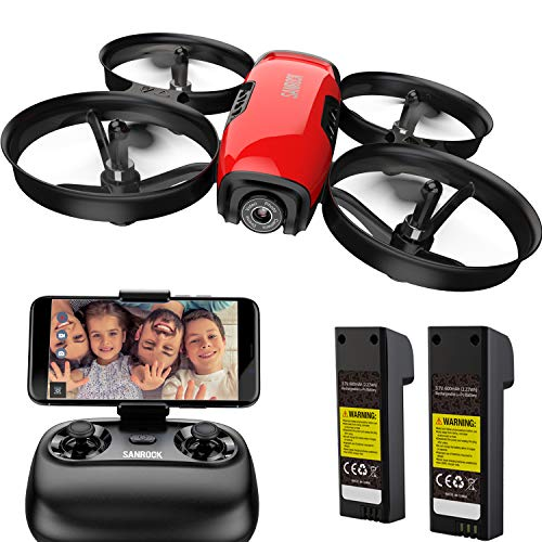 SANROCK U61W Drohne für Kinder mit Kamera, 2 Batterien, APP und Fernbedienung 720P HD FPV Quadcopter, Intelligente Bedienung Höhenlage halten,...