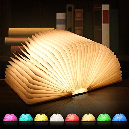GEEDIAR LED Buch Lampe Faltbare Mehrfarbig Nachttischlampe Nachtlicht Tischlampe