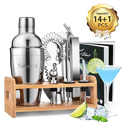 Godmorn Cocktail Set, Edelstahl Cocktail Shaker Set, 15 Teiliges Barkeeper Set mit Bessere Bambus Ständer, Rezeptbuch, Messbecher und Bar Löffel,...