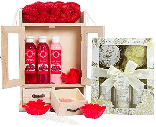 BRUBAKER Cosmetics Bade- und Pflegeset Cranberry & Vanilla Rose Minze 15-teilig