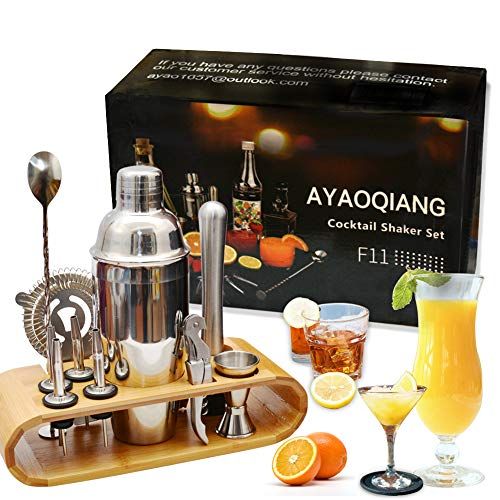 AYAOQIANG Cocktail Shaker Set Edelstahl 12-teiliges Cocktail Bar Set Bar...