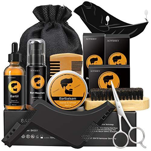 AOVSHEY Bartpflege Set Geschenkset für Männer 9 Teilig, 60mL Bartöl 60g...