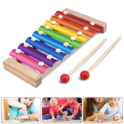 Xylophon für Kinder, Jooheli Musikspielzeug Schlagzeug Schlagwerk, Spielzeug Xylophon mit Holzschlägeln, Holzspielzeug Musikinstrument für Kinder...