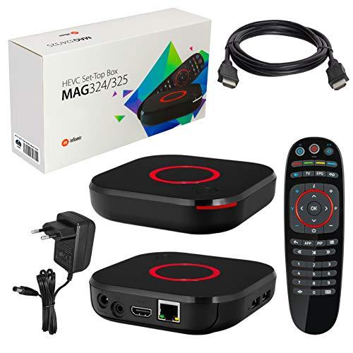 MAG 324 original Infomir og HB-DIGITAL IPTV-sett TOP-boks Multimedia Player Internett-TV IP-mottaker (HEVC H.256-støtte) + HB Digital HDMI-kabel