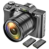4K Digital Camera Video Camera Camcorder Ultra HD 48MP WiFi YouTube Vlogging Camera with Wide Angle Lens ...