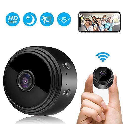 Mini Kamera, FHD 1080P Überwachungskamera Aussen WLAN WiFi Kleine Tragbare Drahtlose Home Security Überwachung Kleine Kamera mit Nachtsicht,...
