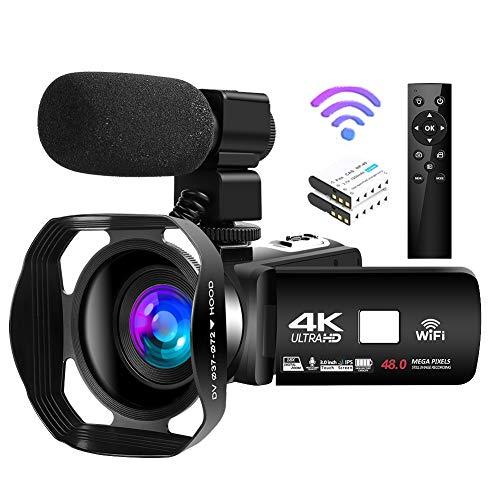 Camcorder 4K Videokamera 48MP 18X Videokamera WiFi Vlogging Kamera IR Nachtsicht...