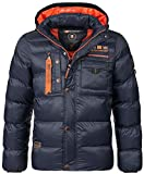 Geographical Norway Men's Quilted Winter Jacket Citernier Hood Navy M