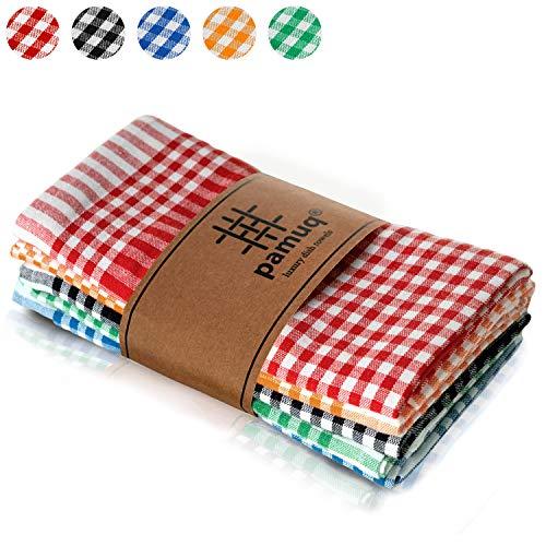 pamuq® hochwertige Geschirrtücher Baumwolle - 100% | 5er Set | 45x65cm mit Aufhänger | Vintage Look - kariert | Küchentuch Geschirrhandtuch...