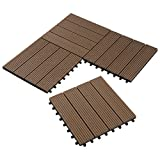 Set van 11 WPC houten tegels terrastegels kliksysteem ...