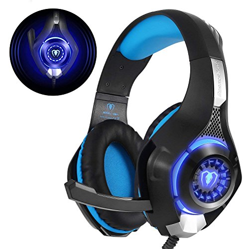 Beexcellent Gaming Headset für PS4 PC Xbox One, LED Licht Crystal Clarity Sound Professional Kopfhörer mit Mikrofon für Laptop Mac Handy Tablet...
