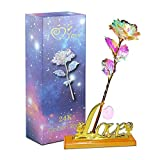 Aokebeey Rose bewaarde 24K Galaxy bloemen met licht en ...