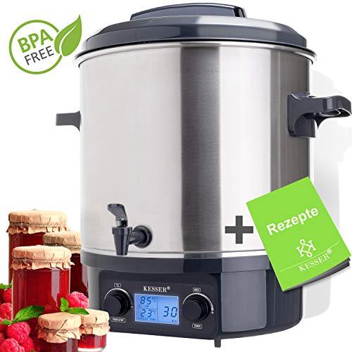KESSER Einkochautomat 27 Liter Glühweinkocher Glühweinkessel Edelstahl mit Timer | 2000 Watt | Temperatur von 30-100°C | Zeituhr bis 120 Minuten...