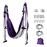 Air Yoga Swing, Yoga Hammock Swing, Trapeze Yoga Kit, 2 Extension Straps and 6 Handles, Wide Flying Yoga Inversion Tool, ...