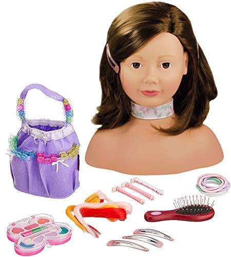 Götz 1192053 Haarwerk mit braunen Haaren und braunen Augen - 28 cm hoher Frisierkopf- und Schminkkopf in 58-teiligen Set - geeignet für Mädchen ab...
