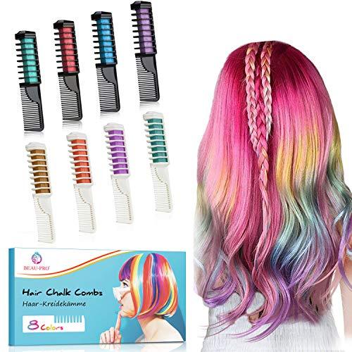 Haarkreide Kamm,Temporär Haarfarbe Kreide Kamm,8 Stück Instant Einmalige Haarekreide Kamm,Ungiftig-für Karneval,Kinder...