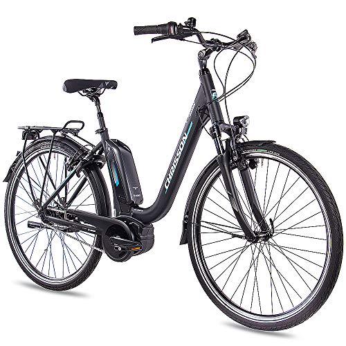 CHRISSON 28 Zoll Damen Trekking- und City-E-Bike - E-Cassiopea schwarz - Elektro Fahrrad Damen - 7G Shimano Nexus Nabenschaltung - Pedelec mit Bosch...