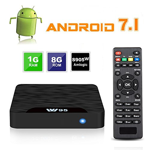 Android TV Box 7.1, 2019 SeeKool Android Smart TV-boks med 1GB RAM 8GB, Amlogic S905W quad-core CPU, støtter Full HD 4K H.265 / WiFi 2.4Ghz / 100M ...