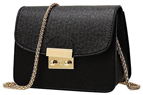 Honeymall Маленькая женская сумка на ремне City Bag Сумка на плечо Элегантная ретро винтажная сумка на цепочке (черный)
