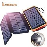 Powerbank Solar Externer Akku 24000mAh Solar Ladegerät mit 3 Solar Panels Dual USB 2.1A, Notfall-Energie mit LED-Licht & Haken für...