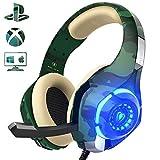Beexcellent Gaming Headset für PS4 PC Xbox One, LED Licht Crystal Clarity Sound Professional Kopfhörer mit Mikrofon für Laptop Mac Handy Tablet...
