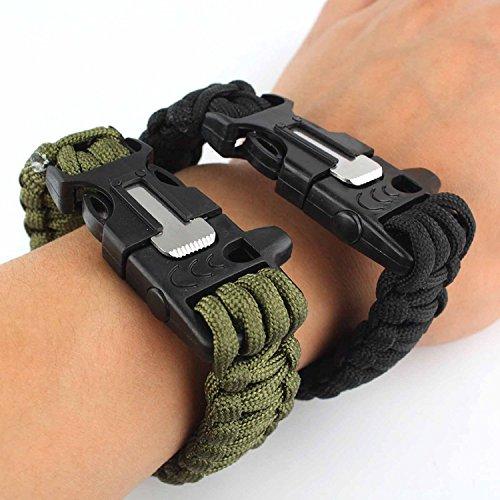 Survival Armband, Set mit zwei Survival-Armbändern, Paracord, mit Pfeife, Feuerstein, Schaber zum Feuer machen, für Aktivitäten im Freien (schwarz...