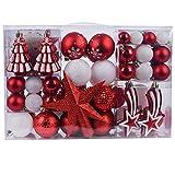 YILEEY Julekuler Julepynt sett hvitt og rødt 108 STK i 14 farger, plast ...