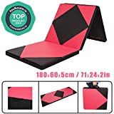 CCLIFE 180x60x5cm Foldable soft floor mat, exercise mat, fitness mat, exercise mat, non-slip exercise mat, play mat, color: black & red A.