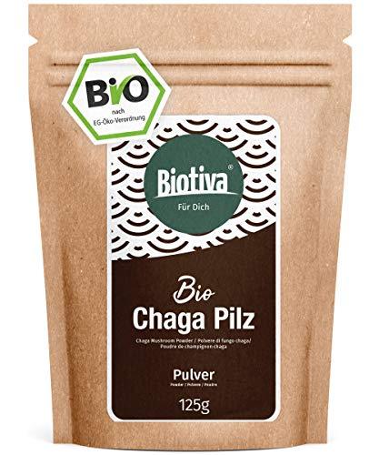 Chaga Pilz Pulver Bio 125g - Wildsammlung - Innere Mongolei und Sibirien - Vitalpilz - Schiefer Schillerporling - Abgefüllt und kontrolliert in...