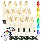 Hengda 40er LED Weihnachtskerzen Kabellos, mit Fernbedienung Timer, RGB &...