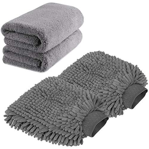TAGVO Große Auto-Waschhandschuh und Mikrofaser-Reinigungstüch - Deluxe Koralle...