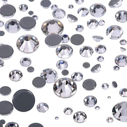 1000 Stück Gemischte Größe Hot Fix Runde Kristalle Edelsteine Glassteine Hotfix Flache Rückseite Strass 1,5 - 6 MM (Klare Farbe)