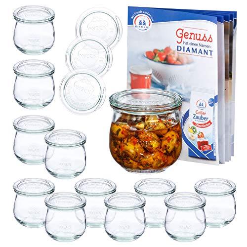 MamboCat 12er Set WECK-Tulpenglas 370 ml + 12 Glas-Deckel RR80 + Rezeptheft   Marmeladen-Gläschen Klar   Ø 9 cm   Einmachen, Einkochen &...