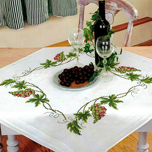Stickset mit Plattstich und Stielstich zum Selbersticken Tischdecken Set vorgezeichnet zum Sticken Ernst Sch/äfer Stickpackung BL/ÜMCHEN