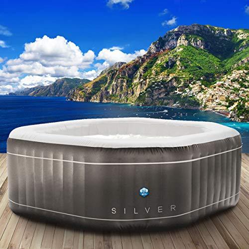 "Whirlpool Netspa ""SILVER"" aufblasbar 5 Personen 195x195cm 130 Massagedüsen Heizung Aufblasfunktion per Knopfdruck 850l Wellness Massage"